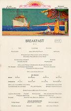 menu breakfast compagnie maritime P et O paquebot Strathaird 30 Juillet 1934.