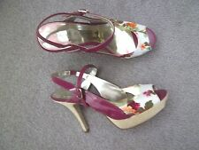 Ladies Pink Floral Marc Fisher Dorrita Heels Slingbacks Shoes 7.5 M