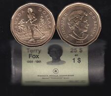 2005 Canada Roll $1 Dollar - Terry Fox - Special Wrapped - 25 Coins - UNC - E488