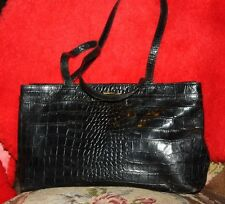 CLAUDIA GATOR CROC BLACK Leather Purse Shoulder Bag Straps