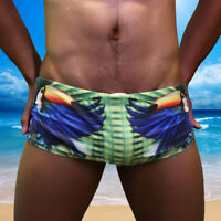 Men Swim Brief Swimmer Swimsuit Swimwear Costume Parrot Print Beach Shorts Boxer