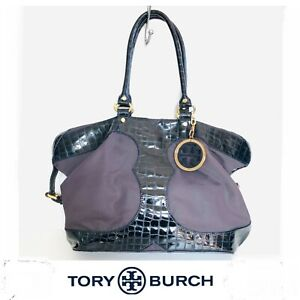 TORY BURCH Vintage Purple Nylon Croc Navy Blue Patent Leather Shoulder Bag Tote.