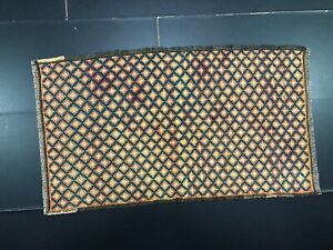 Geometric Design Turkish Small Rug, Vintage Orange Door Mat, Handmade Wool 768