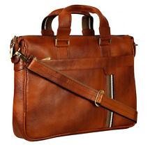Genuine Leather Tan Messenger Shoulder File Laptop Office Executive Men Bag