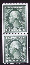 U.S. STAMP #410 1c WASH-FRANK LINE PAIR FLAT, p12H, w190 1912 MINT