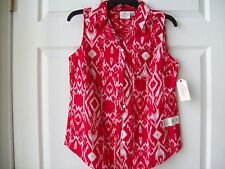 St John's Bay women Cotton Blouse Cabaret Red Size PS NWT