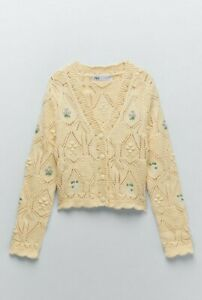 Zara Floral Knit Embroidered Yellow Summer Cottagecore Cardigan M New Medium