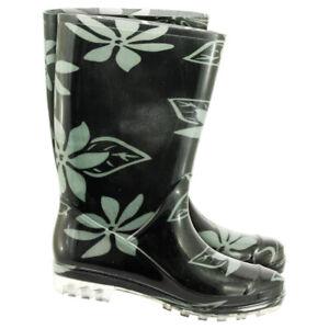 Damen Gummistiefel PVC Stiefel Regenkleidung Regenbekleidung Blumenmuster 36-42
