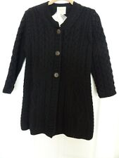 NWT Kilronan Knitwear Sweater XS Black 100% Merino Wool Aran Cable Knit Cardigan