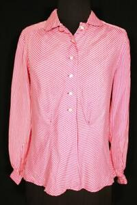 RARE VINTAGE FRENCH 1940'S WWII ERA PINK & WHITE STRIPED RAYON BLOUSE LARGE