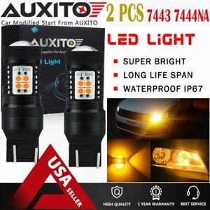 AUXITO 7440 7443 7444NA Amber LED Turn Signal Light Bulb Yellow Non-Polarity EOA