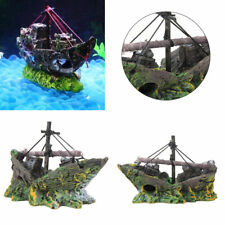 Aquarium Pirate Ship Fish Tank Ornament Shipwreck Decor Landscape Accessories UK