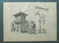 AR89) Architektur Wachenheim i d Pfalz 1889 Wasserturm Schnitt Holzstich 28x39cm