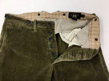RRL Ralph Lauren Mens Brown Wide Wale Corduroy Pants Trousers 30 x 30 $490