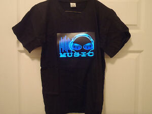 SOUND MUSIC Activated LED LIGHT UP FLASHING PURPLE DJ rave PARTY concert T-SHIRT