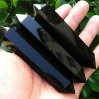 Natural Black Obsidian Crystal Gemstone Double Terminated Wand Healing Stone