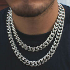 Mens Miami Cuban Link Chain Diamond Real 14k White Gold Solid Lifetime Warranty