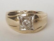 Classic Mens Vintage 14k Gold .25 Ct 1/4 Ct Diamond Solitaire Ring~Sz 11.75~7.4g