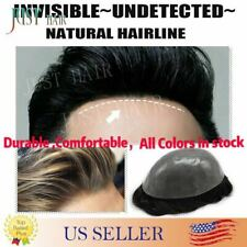 Invisible Thin Skin Mens Toupee Remy Hair Replacemen Poly Hairpieces System PAPY