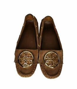 Tory Burch Women's Brown Suede Alexandra Logo Moccasin Drivers Shoes Size 9 M