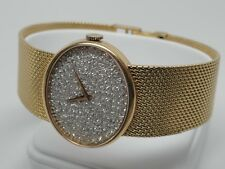 Rare Mens Baume and Mercier Watch w/ Pave Diamond Face 18k Solid Yellow Gold