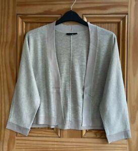EX WALLIS BRAND New Silver Lurex Edge Open Shrug Cardigan Top Size 8 - 18