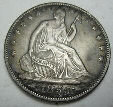 1855 O silver Seated Liberty Half Dollar Coin grades abt unc  (#518a)