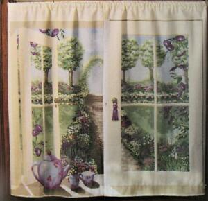 Cafe Curtains ENGLISH GARDEN Scene TIERS ONLY Window Art Mural  NEW 44 W x 36 L