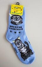 Foozys Feline Collection Ladies Socks American Short Hair Cat Kitty Blue Grey