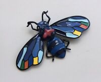 Unique large Bee Brooch  enamel on Metal