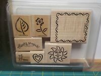 STAMPIN UP FRAMED FUN SET OF 7 WOOD MOUNT RUBBER STAMPS EUC A13918