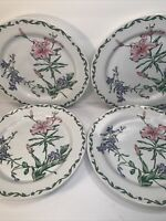 4 INTERNATIONAL TABLEWORKS DINNER PLATES  ''TERRACE BLOSSOMS'' STONEWARE 11''