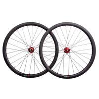 38mm Carbon Fiber Clincher Wheelset UD 700C Road Cyclocross Wheel Disc Novatec