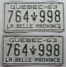 Quebec 1963 License Plate PAIR # 764-998