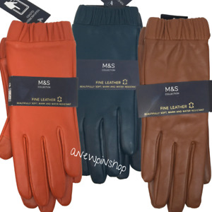 M&S Ladies Gloves Real Leather Touchscreen Warm Winter S M L BNWT Marks