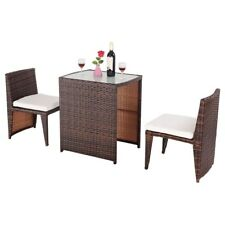 3PCS Garden Yard Rattan Wicker Furniture Table & Chair Set Cushioned Outdoor US