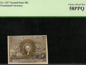 50 CENT FRACTIONAL NOTE UNITED STATES CURRENCY PAPER MONEY Fr 1317 PCGS 58 PPQ