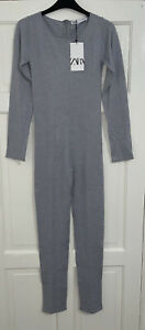 ZARA AW21 GREY BLUE LONG KNIT JUMPSUIT ROMPER WITH BACK ZIP SIZE M BNWT