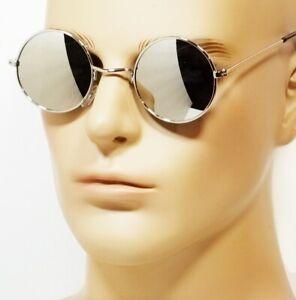 NWT Retro Round Hippie Sunglasses Mirror Lens John Lennon Style Silver Black