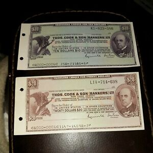 Vintage $10 and $20 Thomas Cook Unused Travelers Checks Cheques Paper Money