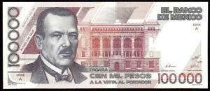 Mexico P-94a Banco de Mexico 100,000 Pesos A-A,4.1.1988 UNC