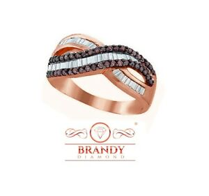 Brandy Diamond® Chocolate Brown 18k Rose Gold Silver Baguette Luxurious Ring