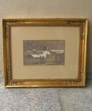 Carl Locher. A Dramatic Rescue of a beached ship.1880s. Rare Antique Watercolor