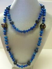 Vintage Blue Lapis Lazuli Cloisonne Glass Beaded Necklace