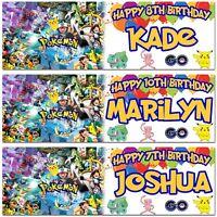 2 Personalised Pokemon Birthday Banner Children Kids Party poster decoration