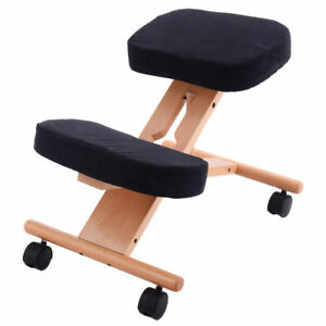 Kneeling Chair Adjustable Home Office Wooden Ergonomic Post Correct Posture_UK