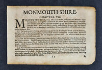 1675 John Speed Atlas Leaf Page - Monmouthshire Monmouth Wales United Kingdom UK