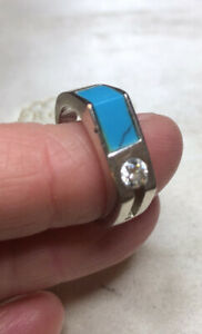 VINTAGE JEWELLERY Pretty Sterling Silver, Real Turquoise And Paste Crystal Ring