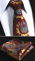Luxury Red Paisley & Black Gold Blue Tie Wedding Silk Pocket Floral Hanky 54C1