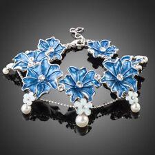 18K Gold GP Made With Swarovski Crystal Elements Circle Flower Bangles Bracelet